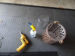 The necessary tools to drill through glass.  Disclaimer:  Patience not represented here.