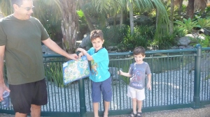 Yay!  We just got to Sea World, so we are still happy.